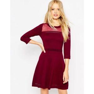 ASOS   NWT Maroon Knit Skater Dress w. Mesh Panel